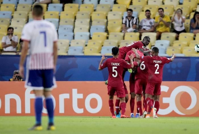 Rio de Janeiro 16/06/2019 - COPA AMERICA - Khoukhi do Qatar comemora seu gol durante partida contra a selecao do Paraguai no estádio do Maracana, neste domingo 16. Foto: Luciano Belford/ Agência O Dia.