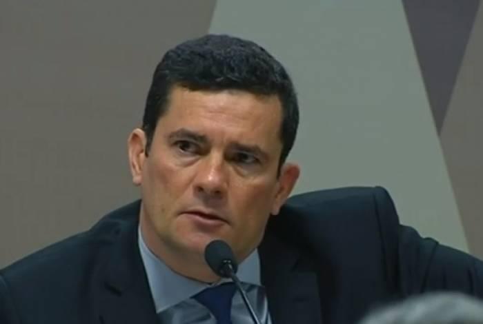 Ministro Sergio Moro em sessão na CCJ do Senado, sobre os vazamentos de suas conversas com procuradores da Lava Jato