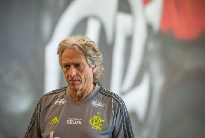 O primeiro treino do técnico Jorge Jesus no Flamengo, no Ninho do Urubu