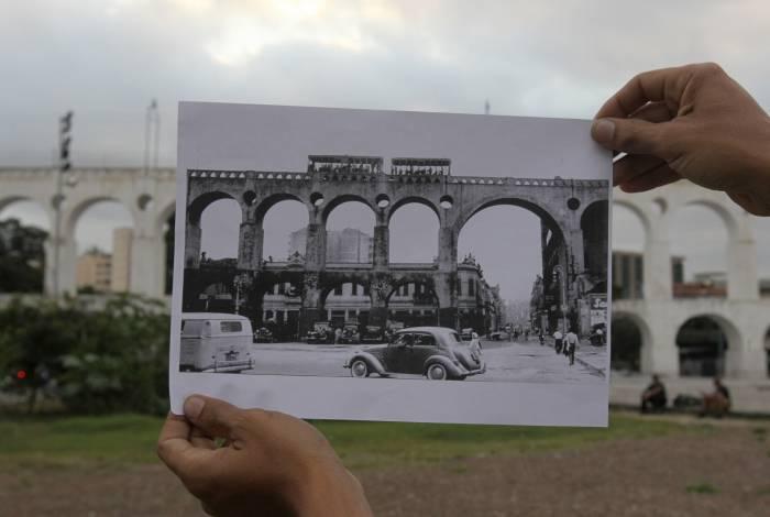 Arcos da Lapa na década de 1950 e nos tempos atuais
