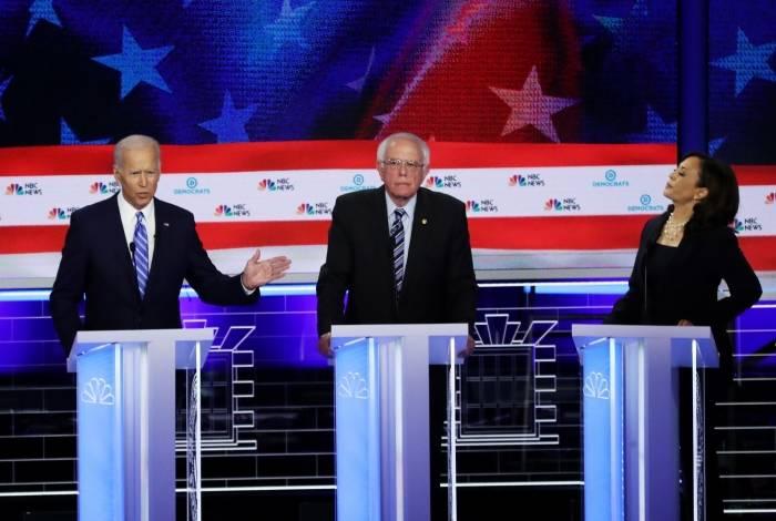 Pré-candidatos do Partido Democrata para 2020: Joe Biden, Bernie Sanders e Kamala Harris