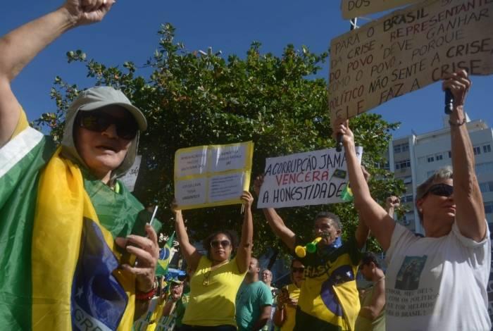Apoiadores do ministro Sergio Moro e da operação Lava Jato em protesto em Copacabana