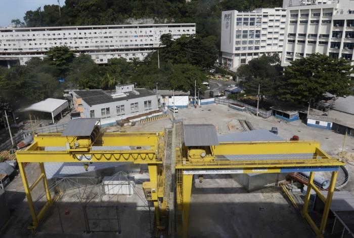 Canteiro de obras da linha 4 do metrô na Gávea: terreno instável