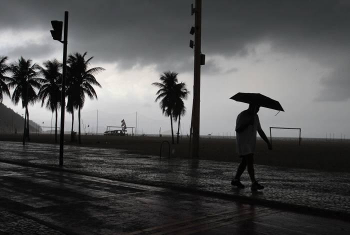 Chuva chega ao Rio. Na foto, tempo nublado na praia do Leme. Foto: Estefan Radovicz / Agência O Dia