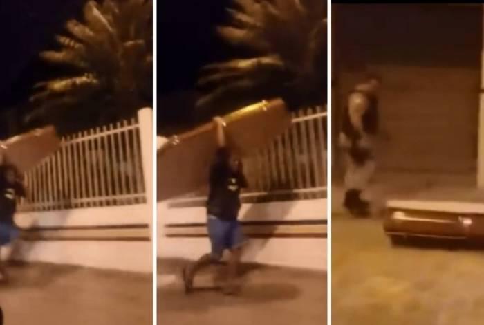 Homem carregava caixão pela rua e chegou a passar em frente a um Batalhão da Polícia Militar
