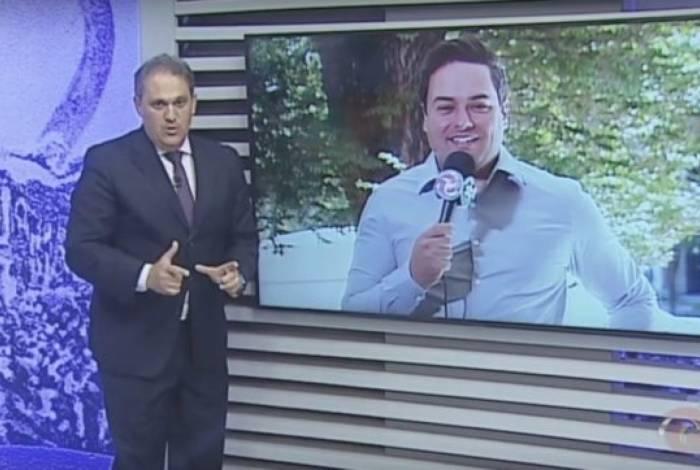 Apresentador Stanley Gusman e repórter e deputado estadual Rafael Martins