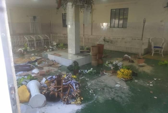 Terreiro de candomblé invadido, em julho, na comunidade do Parque Paulista, em Duque de Caxias
