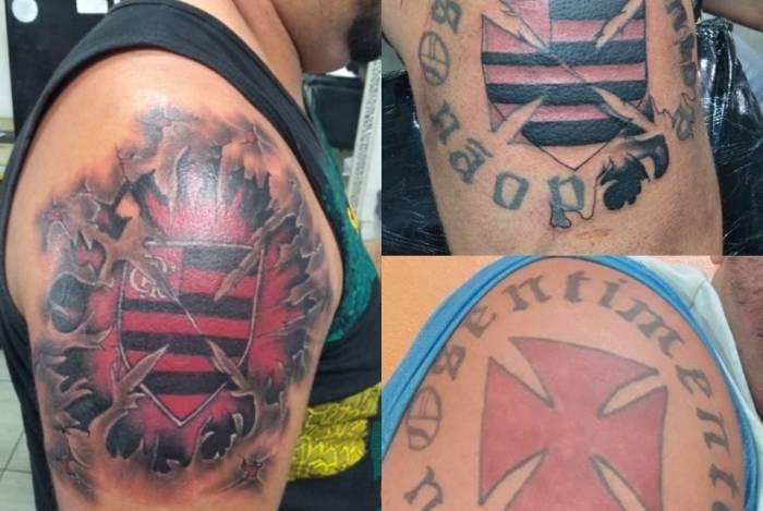 Ex-torcedor do Vasco cobre tatuagem com escudo do Flamengo