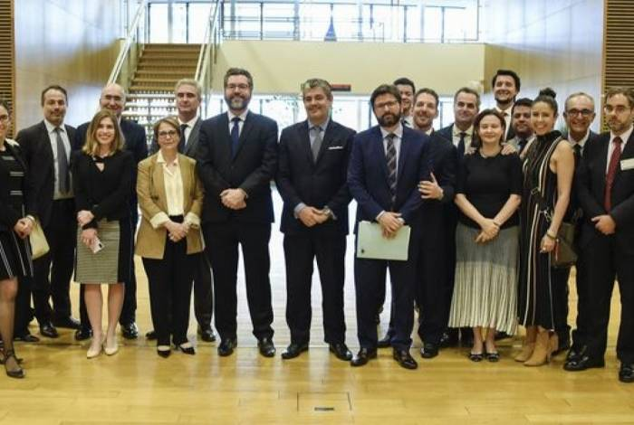 Delegação brasileira, em Bruxelas, em junho, durante o fechamento do acordo de livre comércio entre Mercosul e União Europeia