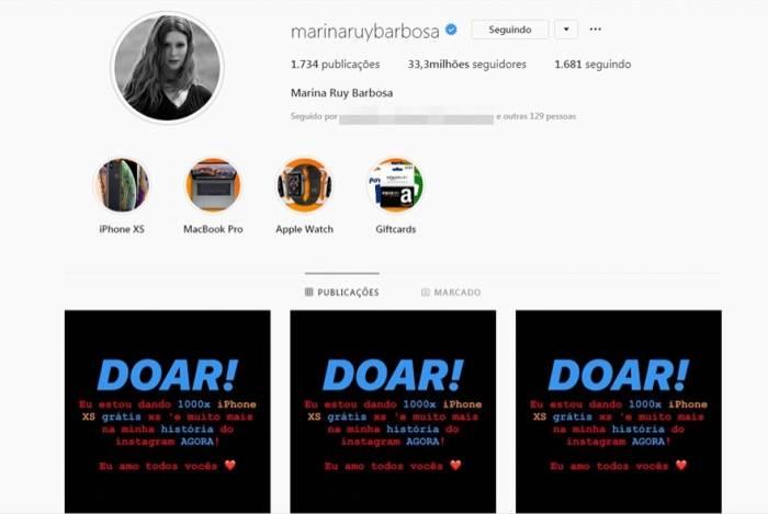 Conta de Marina Ruy Barbosa é hackeada no Instagram