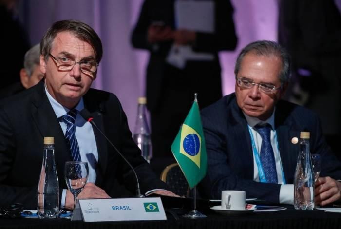 Presidente da República Jair Bolsonaro acompanhado do Ministro da Economia Paulo Guedes