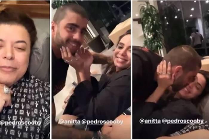 David Brazil segura vela para Anitta e Pedro Scooby