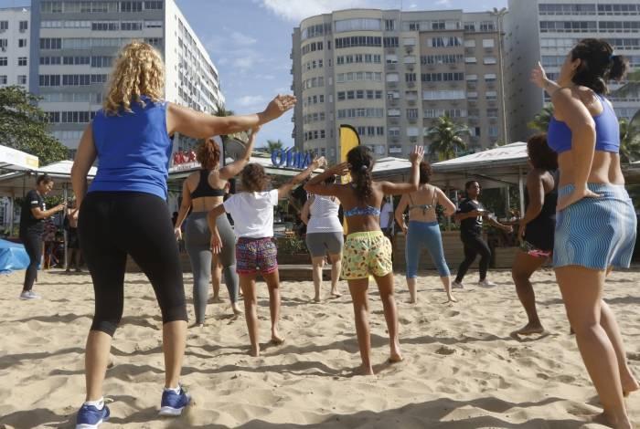 Rio de Janeiro - RJ  - 20/07/2019 - O Dia / Smart Fit - Evento O Dia / Smart Fit, na manha de hoje, na Praia de Copacabana, zona sul do Rio - foto: Reginaldo Pimenta / Agencia O Dia
