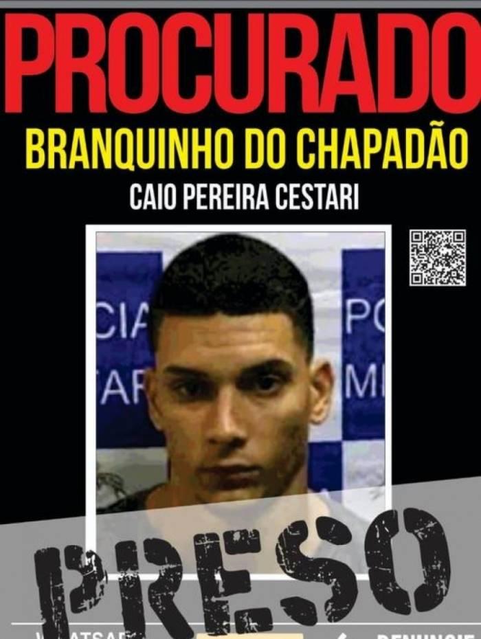Caio Pereira Cestari, conhecido como Branquinho do Chapadão, foi preso nesta sexta-feira
