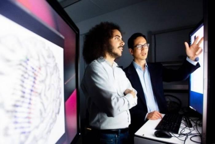 Os pesquisadores analisam imagens do estudo em laboratório