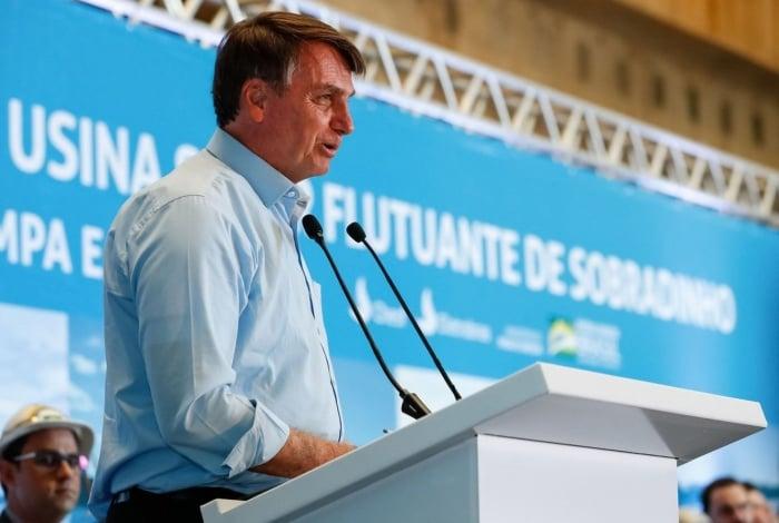 Jair Bolsonaro durante inauguração de usina em Sobradinho