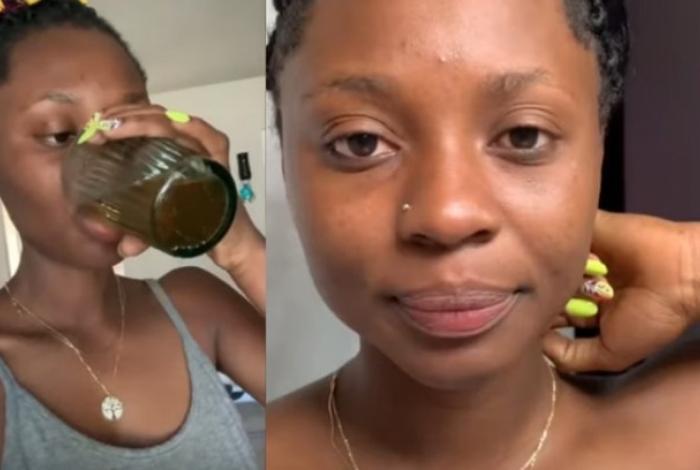 Mulher bebe e passa urina no rosto como tratamento de beleza