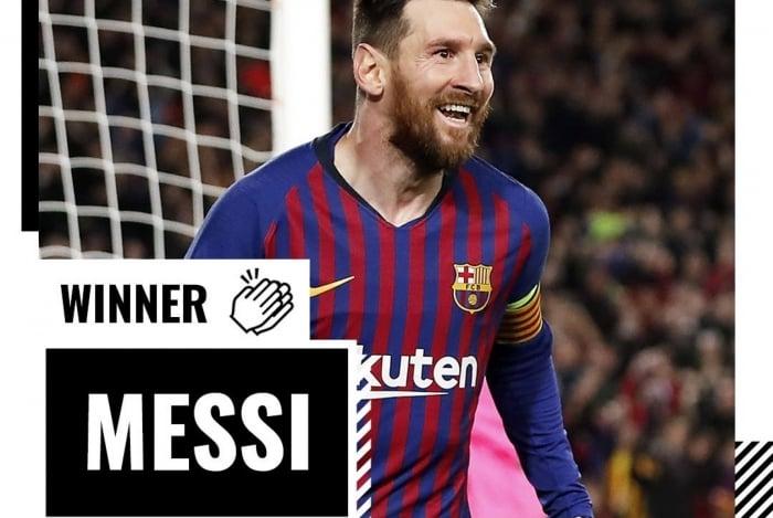 Messi foi premiado pelo golaço de falta na semifinal diante do Liverpool