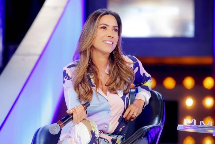 Patricia Abravanel na coletiva do Topa ou Não Topa, do SBT