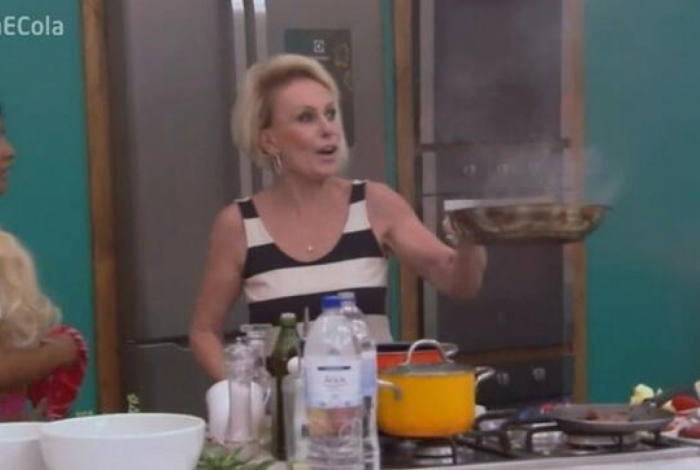 Ana Maria Braga segura frigideira queimada enquanto dança 'É o Tchan'