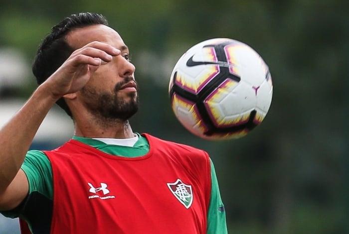 Nenê no treino do Fluminense