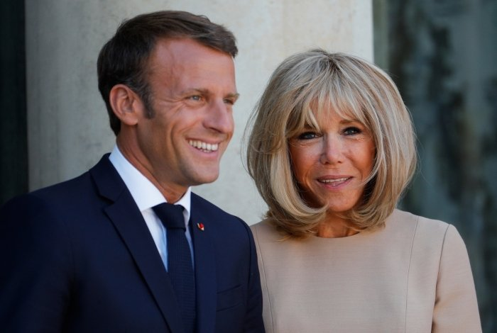 Emmanuel Macron e sua mulher, Brigitte Macron