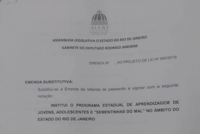 Emenda do deputado Rodrigo Amorim