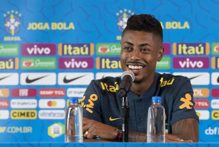 Bruno Henrique em sua primeira coletiva pela seleção brasileira, em Miami: atacante diz que vive 'um momento único e mágico' na carreira