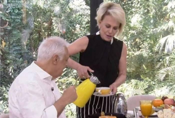 Ana Maria Braga recebeu Antônio Fagundes para café da manhã
