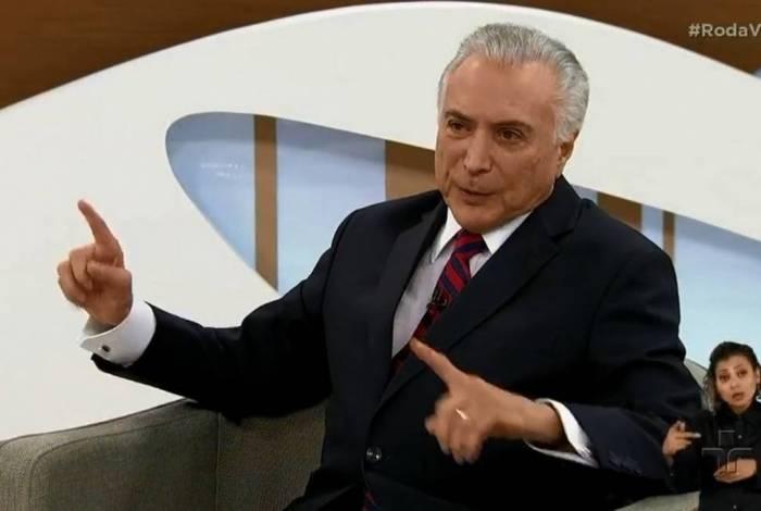 Ex-presidente Michel Temer em entrevista no programa Roda Viva, da TV Cultura