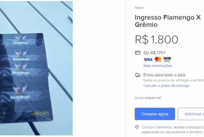 Ingressos de Flamengo e Grêmio pela Libertadores sendo vendidos em site comercial