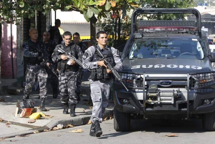 Agentes do Choque também estiveram na região