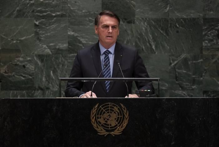 Jair Bolsonaro, presidente do Brasil, fala na 74ª sessão da Assembléia Geral das Nações Unidas, em 24 de setembro de 2019, em Nova York