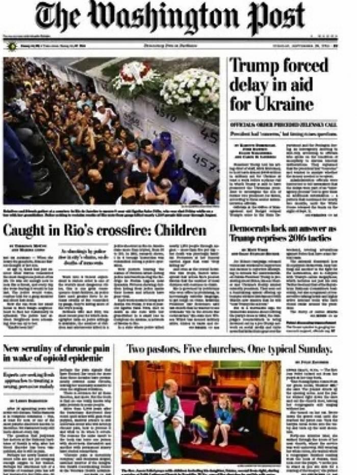 Jornal 'The Washington Post' desta terça-feira