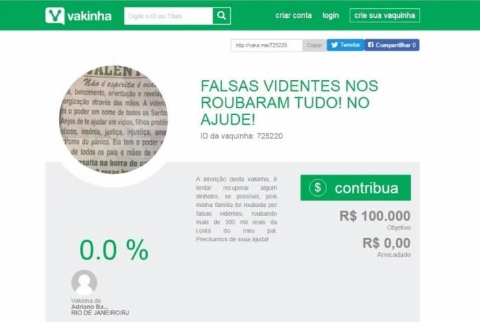 No site da vaquinha, família que foi roubada exibe parte do anúncio publicado pelas falsas videntes