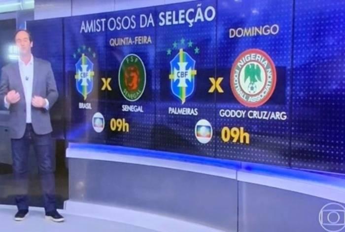 Globo comete gafe ao divulgar amistosos da Seleção
