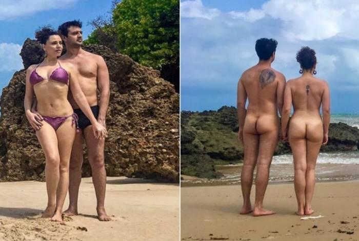 Francis Helena Costa posa em praia de nudismo