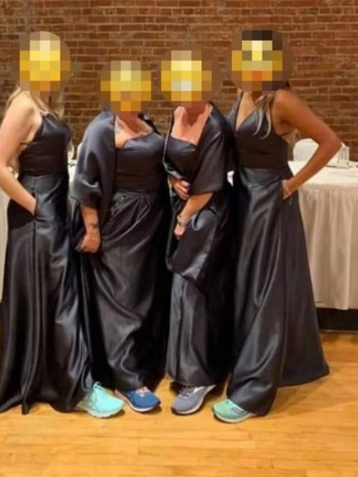 Madrinhas foram obrigadas a usar vestido preto e tênis de corrida colorido