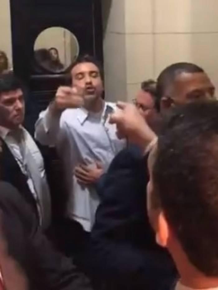 Seguranças apartam briga entre o prefeito de Mesquita, Jorge Miranda, e o deputado Rodrigo Amorim