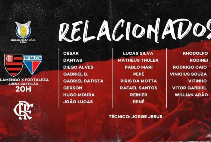 Lista de relacionado do Flamengo para a partida contra o Fortaleza