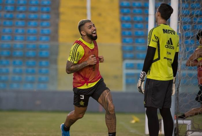 Gabigol no treino do Flamengo