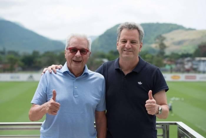 Márcio Braga e Rodolfo Landim no Ninho do Urubu, neste sábado