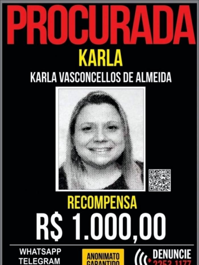 Portal dos Procurados oferece recompensa pelo paradeiro de Karla