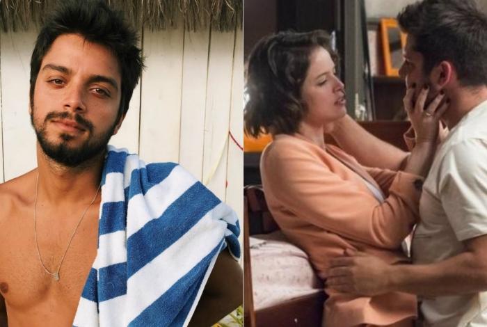 Rodrigo Simas e Agatha Moreira com Bruno Gissoni durante cena em 'A Dona do Pedaço'