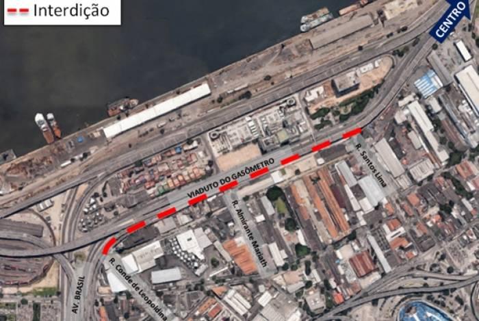 Mapa com a área demarcada da interdição, a partir de amanhã