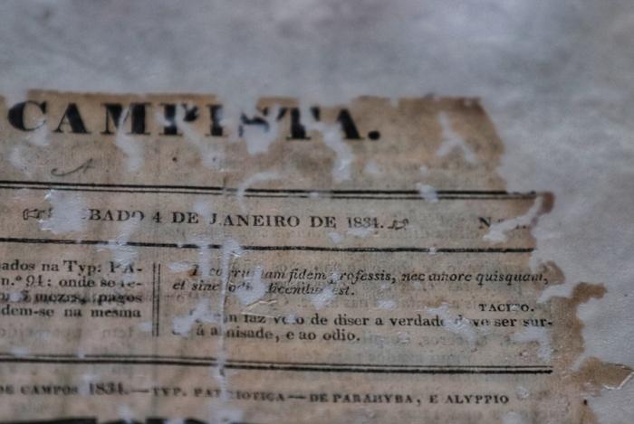 Página restaurada do jornal Monitor Campista, fundado em 1834 e que fechou as portas em 2009