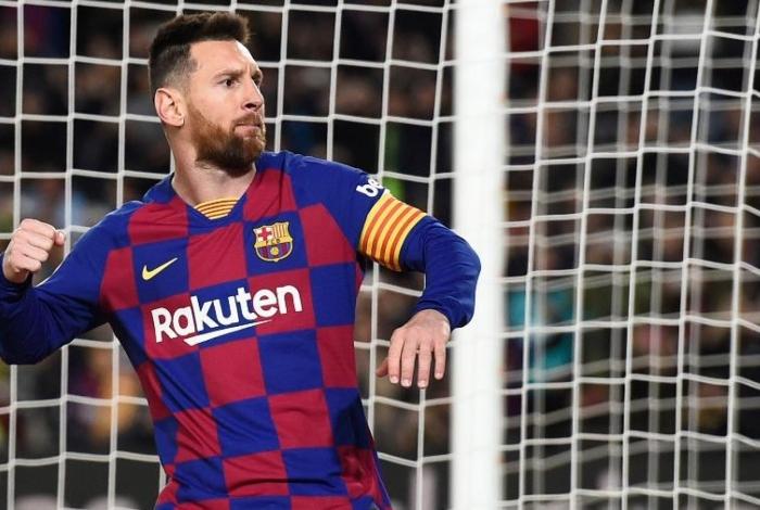 Lionel Messi comemora um de seus gols sobre o Celta pelo Espanhol