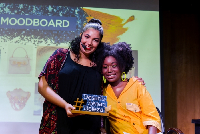 Keit Maria Souza venceu o desafio Beleza Integrada, do Senac RJ, compondo o look da modelo Suelyn Ferreira, inspirado nos anos 80