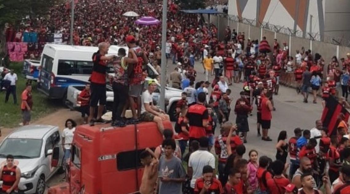Torcedores do Flamengo fazem uma grande festa