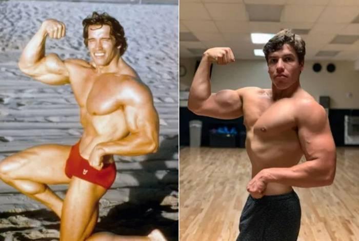 Arnold Schwarzenegger e, ao lado, seu filho Joseph Baena